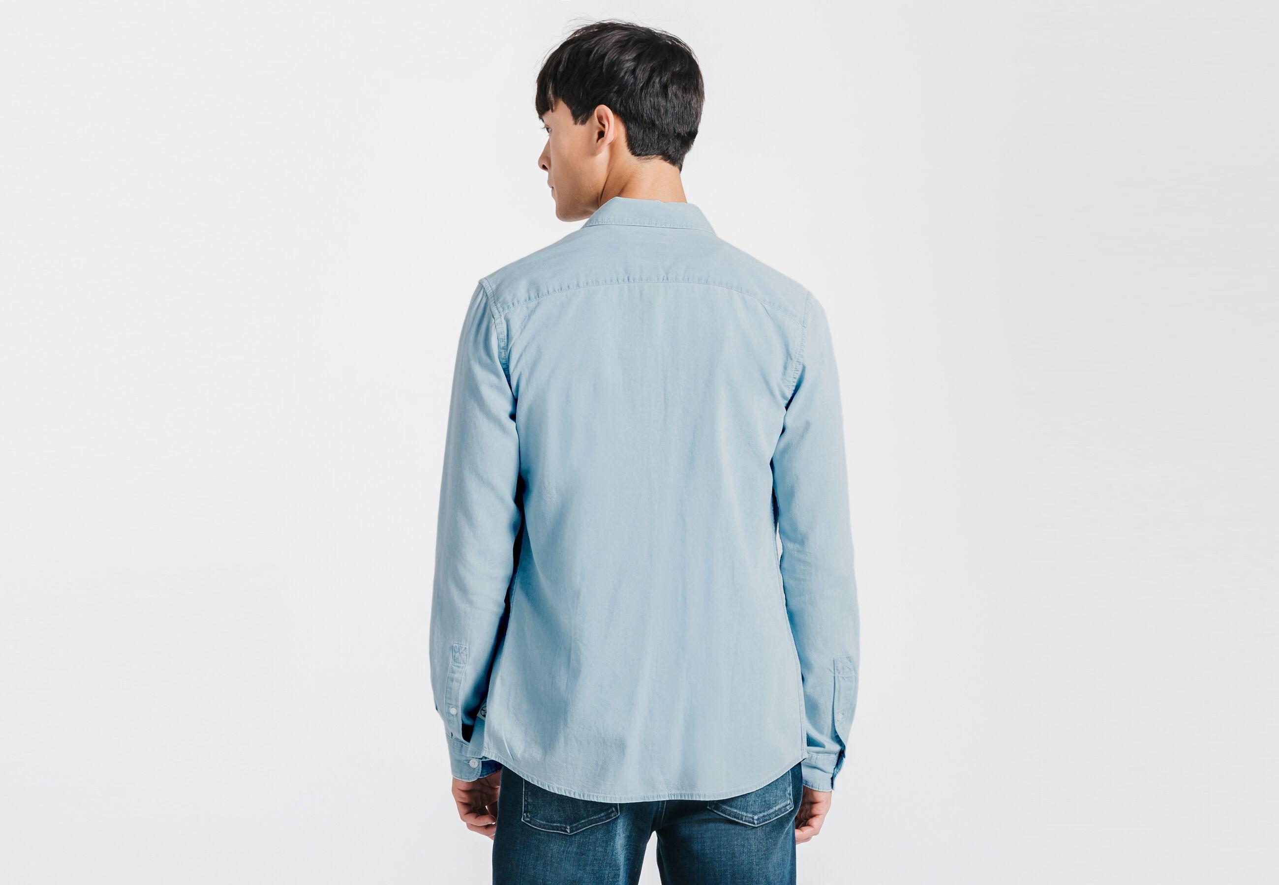 chemise slim en jean bleu jean bleach homme jules. Black Bedroom Furniture Sets. Home Design Ideas
