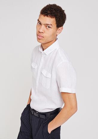 Camicia di lino a maniche corte regular