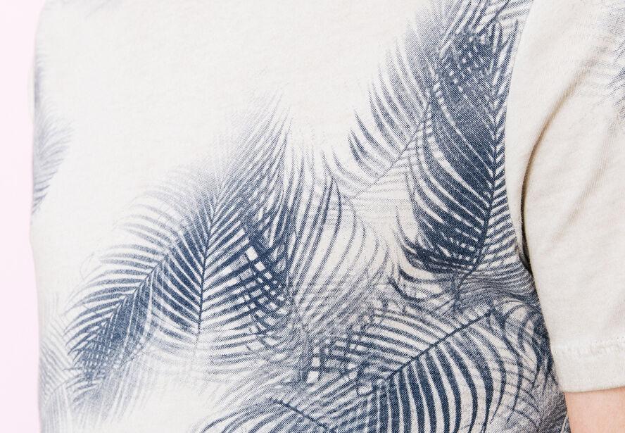 T-shirt col rond imprimé feuillages