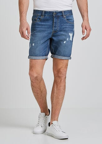 Bermuda denim stone avec destroys