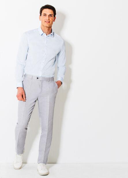Pantalon de costume ajusté en lin et coton