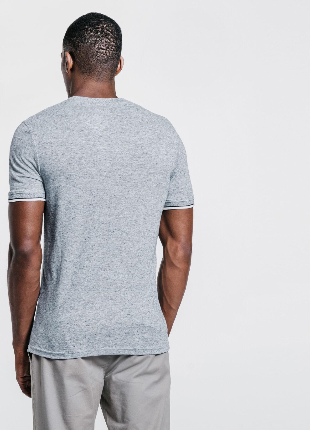 b68efaedb2c73a Tee shirt col rond uni poche poitrine Bleu Fantaisie Homme