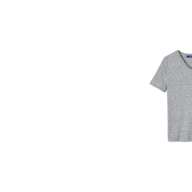 T-shirt col V matière fantaisie
