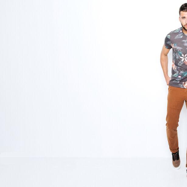 T-shirt col rond imprimé allover fleurs