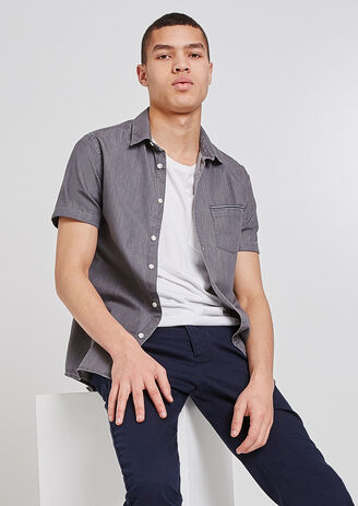 Chemise manches courtes en jean slim