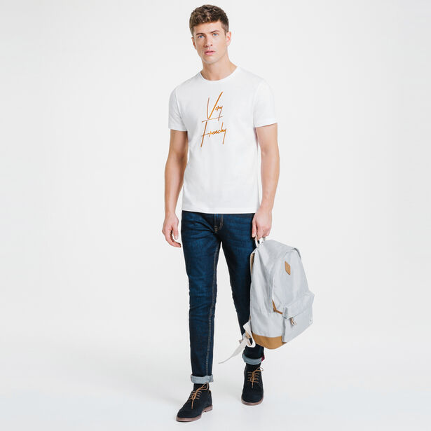 Tee-shirt blanc col rond Very Frenchy