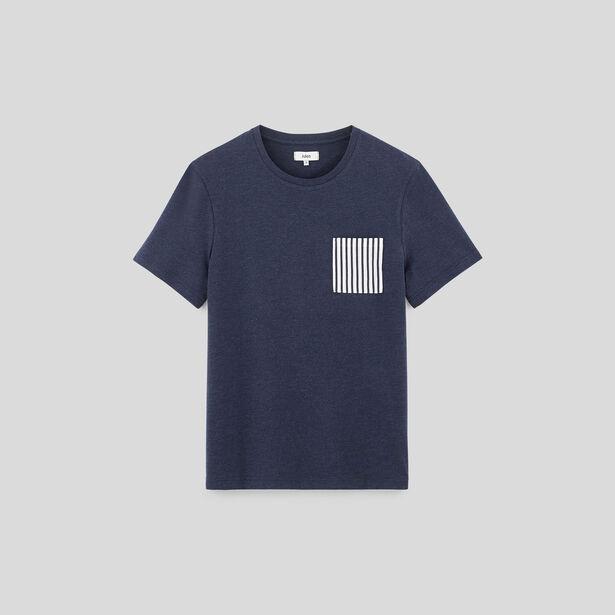 Tee shirt uni col rond à poche