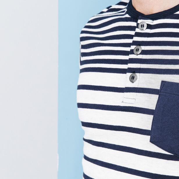T-shirt encolure boutonnée rayé