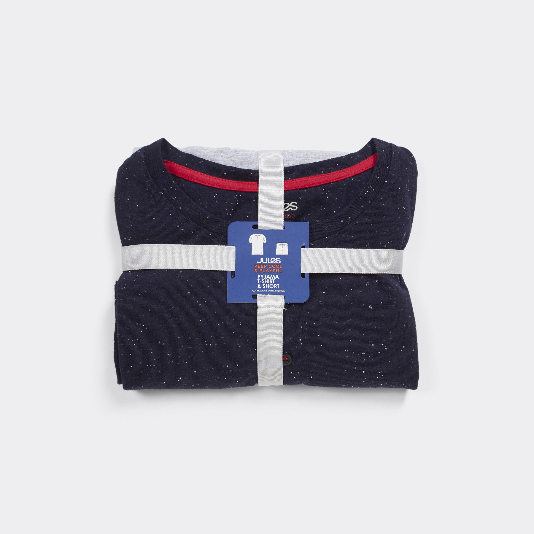 pyjama haut manches courtes tunisien et bas court bleu marine fantaisie homme jules. Black Bedroom Furniture Sets. Home Design Ideas