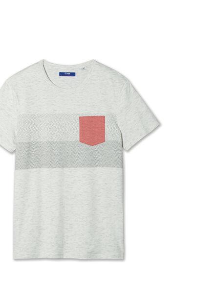 Tee shirt bande ethnic poche rose