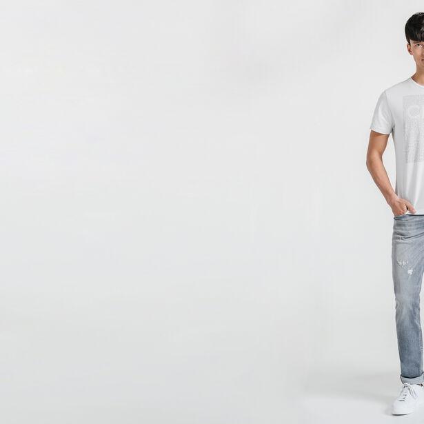 Tee-shirt blanc col rond imprimé Club