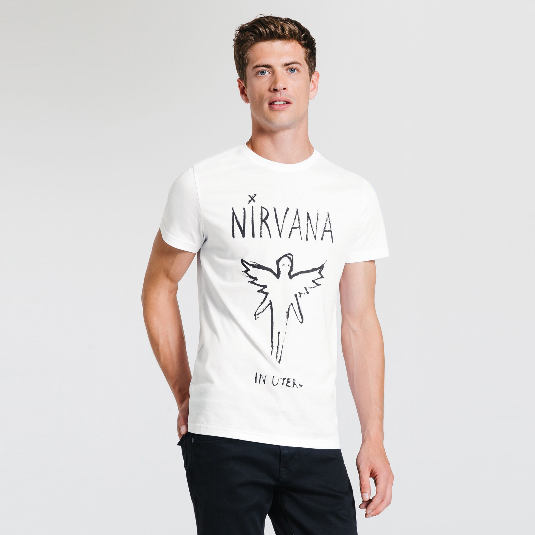 tee shirt nirvana blanc homme jules. Black Bedroom Furniture Sets. Home Design Ideas