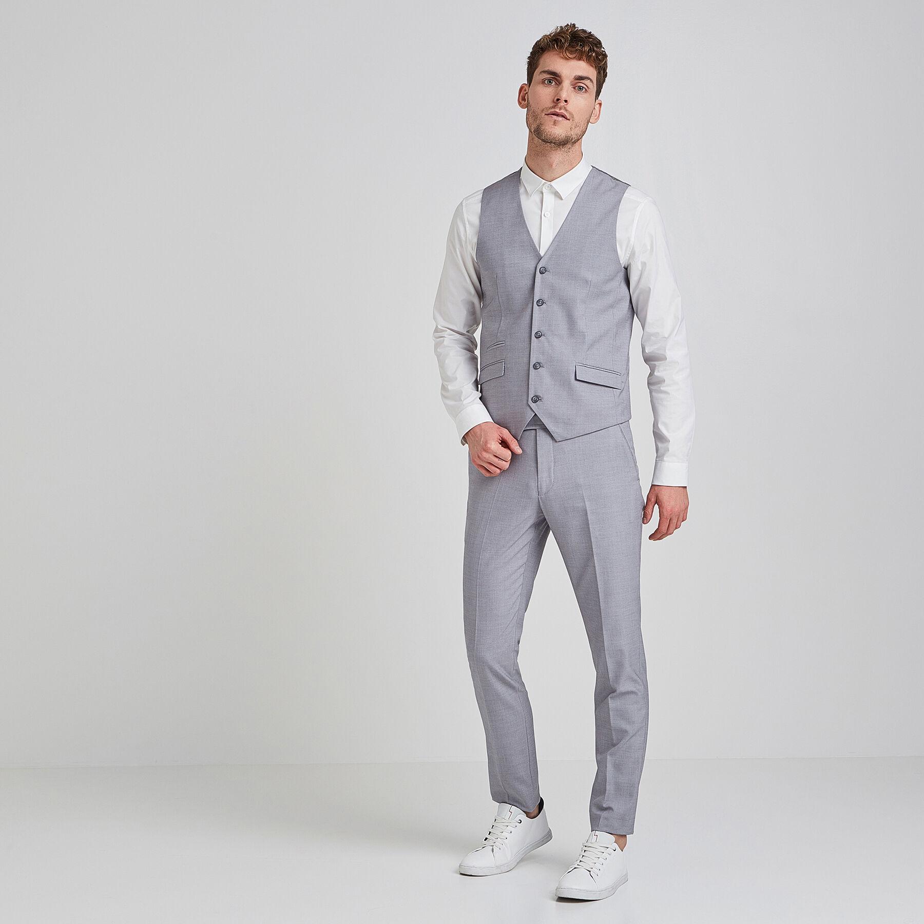 Gilet de costume extra slim gris clair gris chine clair - Costume homme gris clair ...