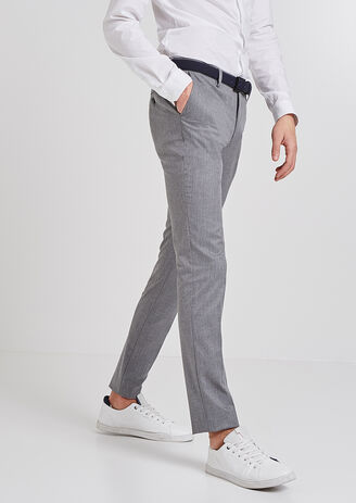 Pantalon de costume slim esprit flanelle