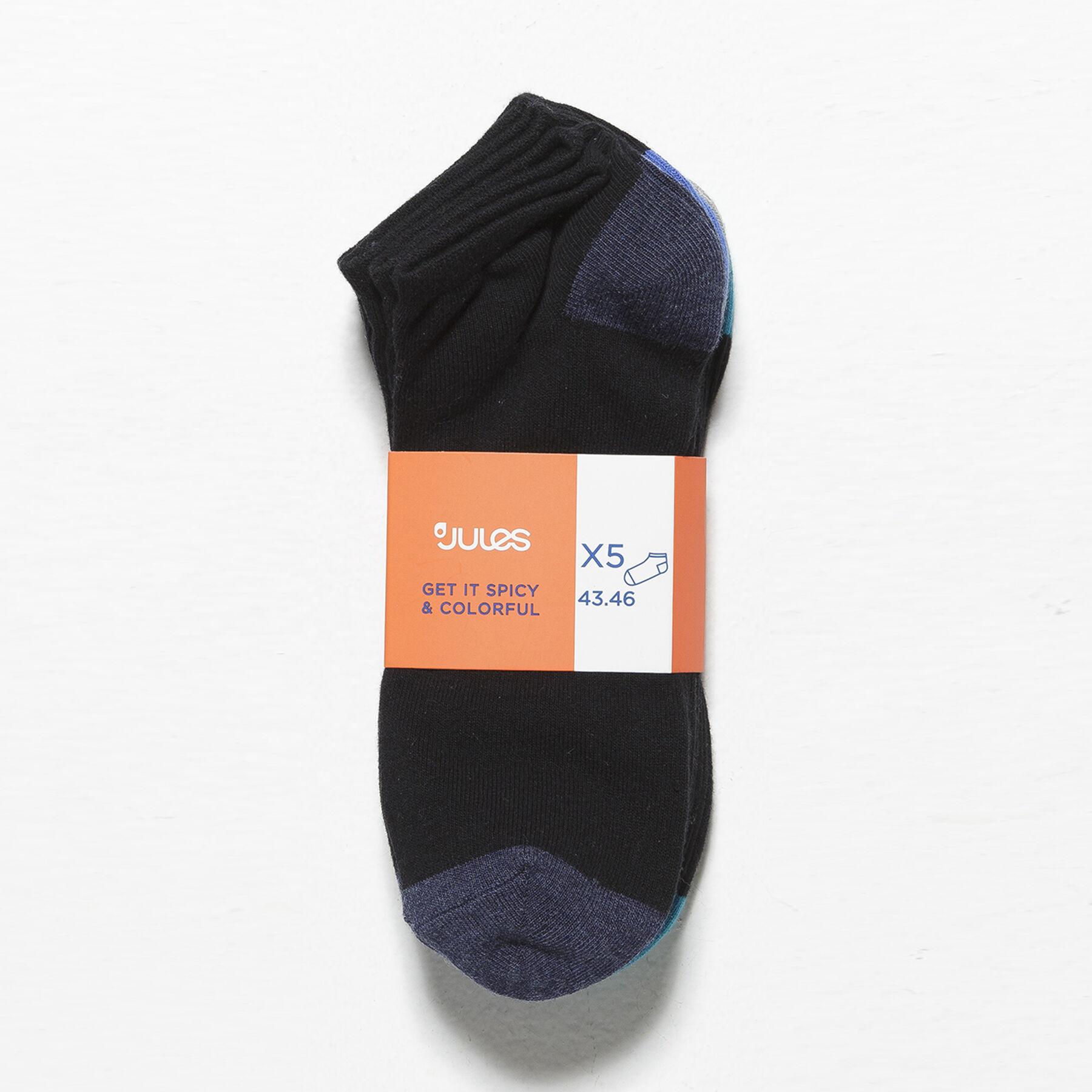 lot de 5 paires de chaussettes talons pointes cont noir fantaisie homme jules. Black Bedroom Furniture Sets. Home Design Ideas