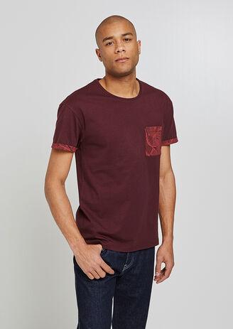Tee shirt poche imprimée Feuilles