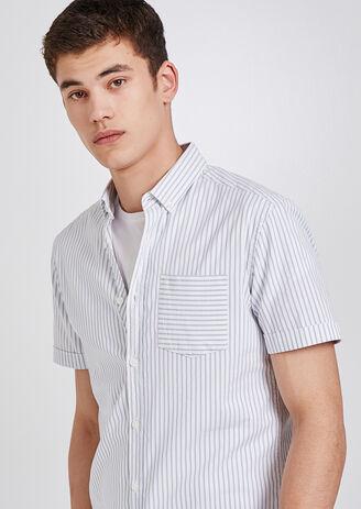 Chemise rayée manches courtes ajustée