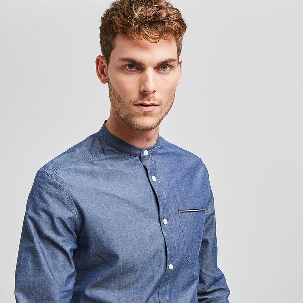 chemise regular col officier bleu moyen homme jules. Black Bedroom Furniture Sets. Home Design Ideas