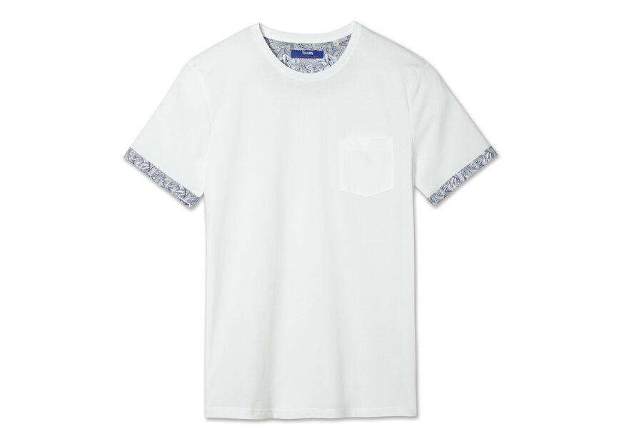 Tee shirt col rond revers manches imprimé