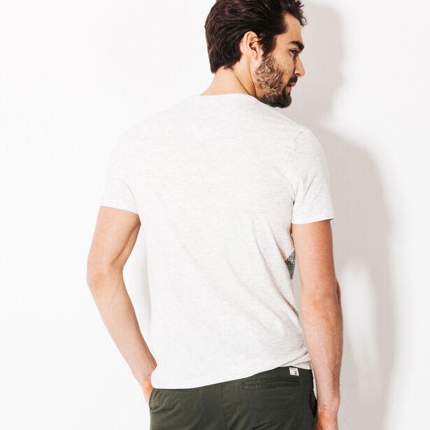 Tee shirt bande graphique et poche poitrine jaune