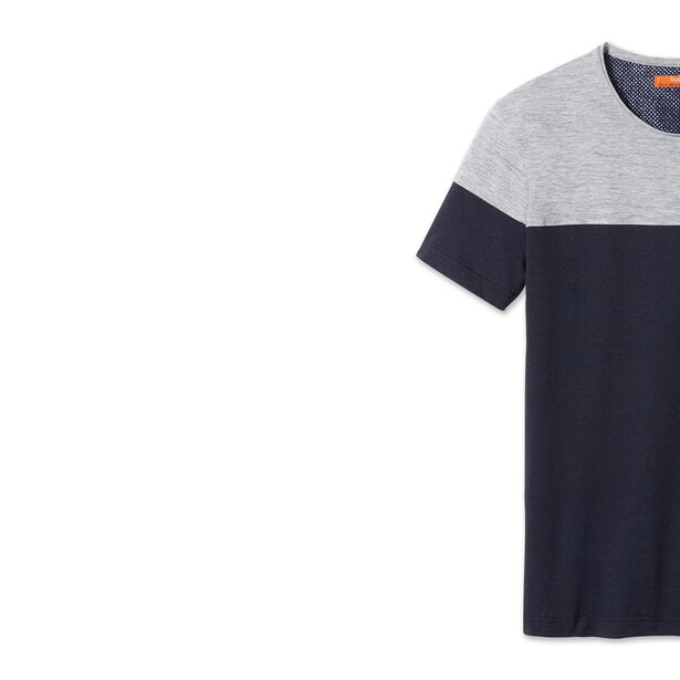 T-shirt col rond, colorblock