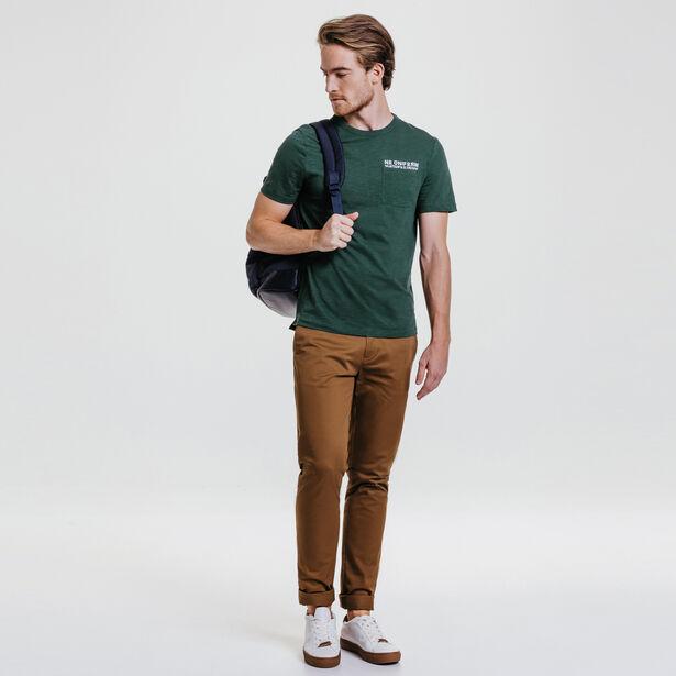 Tee-shirt col rond imprimé poche
