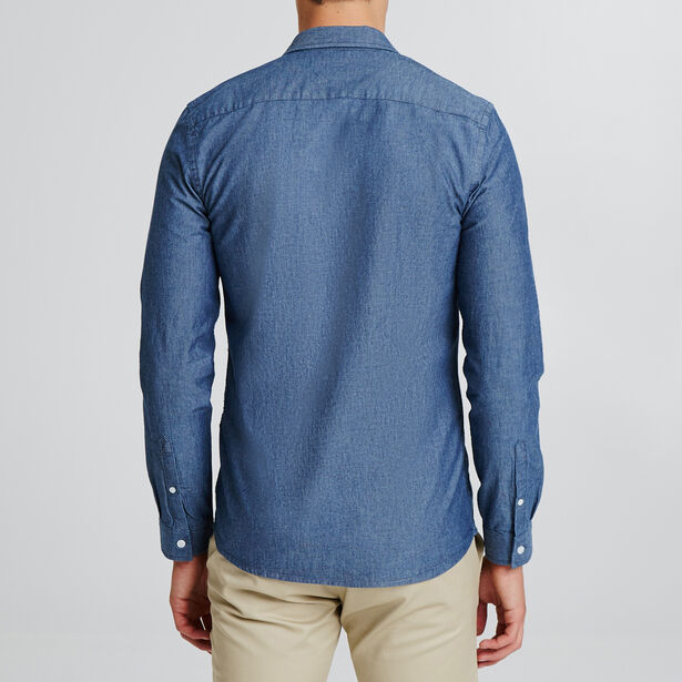Slim fantasiehemd in chambray