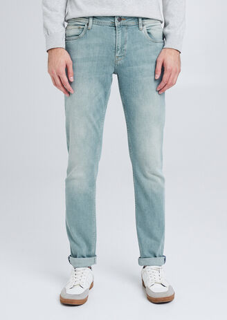 Straight jeans, groen aspect