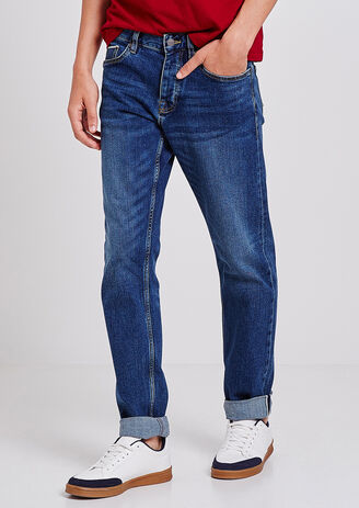 Jeans Straight Selvedge Stone Washed