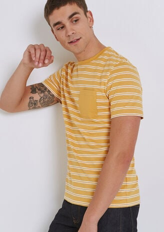 Tee shirt marinière col rond avec poche