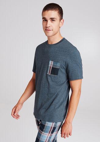 Tee shirt pyjama col rond poche poitrine