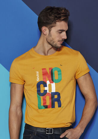 T-shirt met opdruk 'no color'