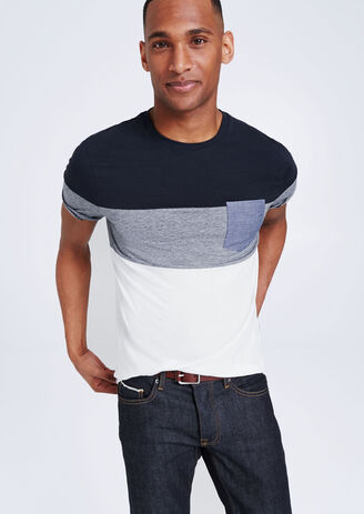 T-shirt zak met korte mouw, borstzak in chambray