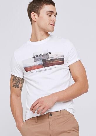 Tee shirt col rond imprimé paysages