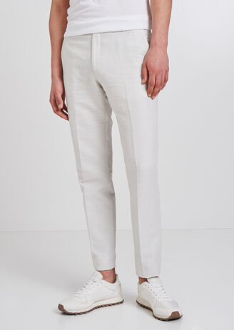 Pantalon de costume slim coton lin