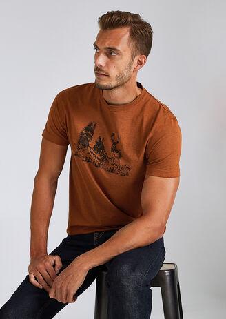 T-shirt in fantasiestof met print van 3 dieren