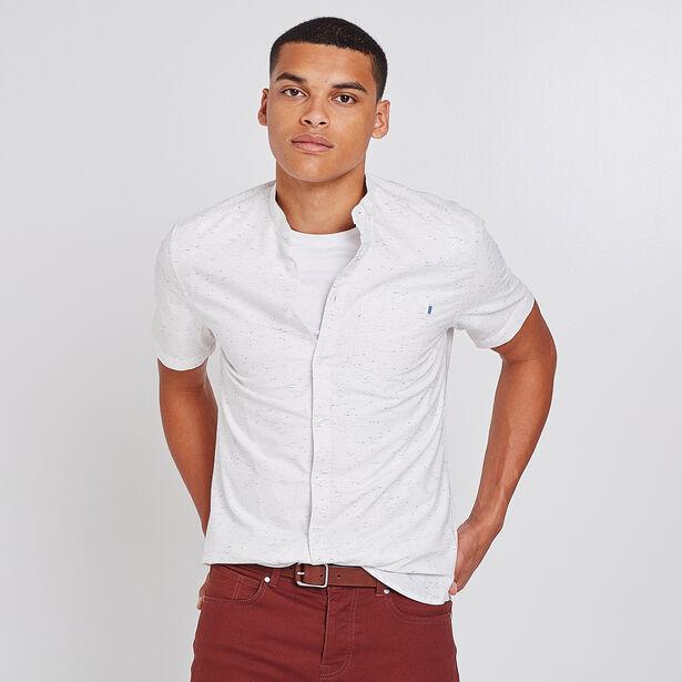 chemise manches courtes oxford col officier blanc homme. Black Bedroom Furniture Sets. Home Design Ideas
