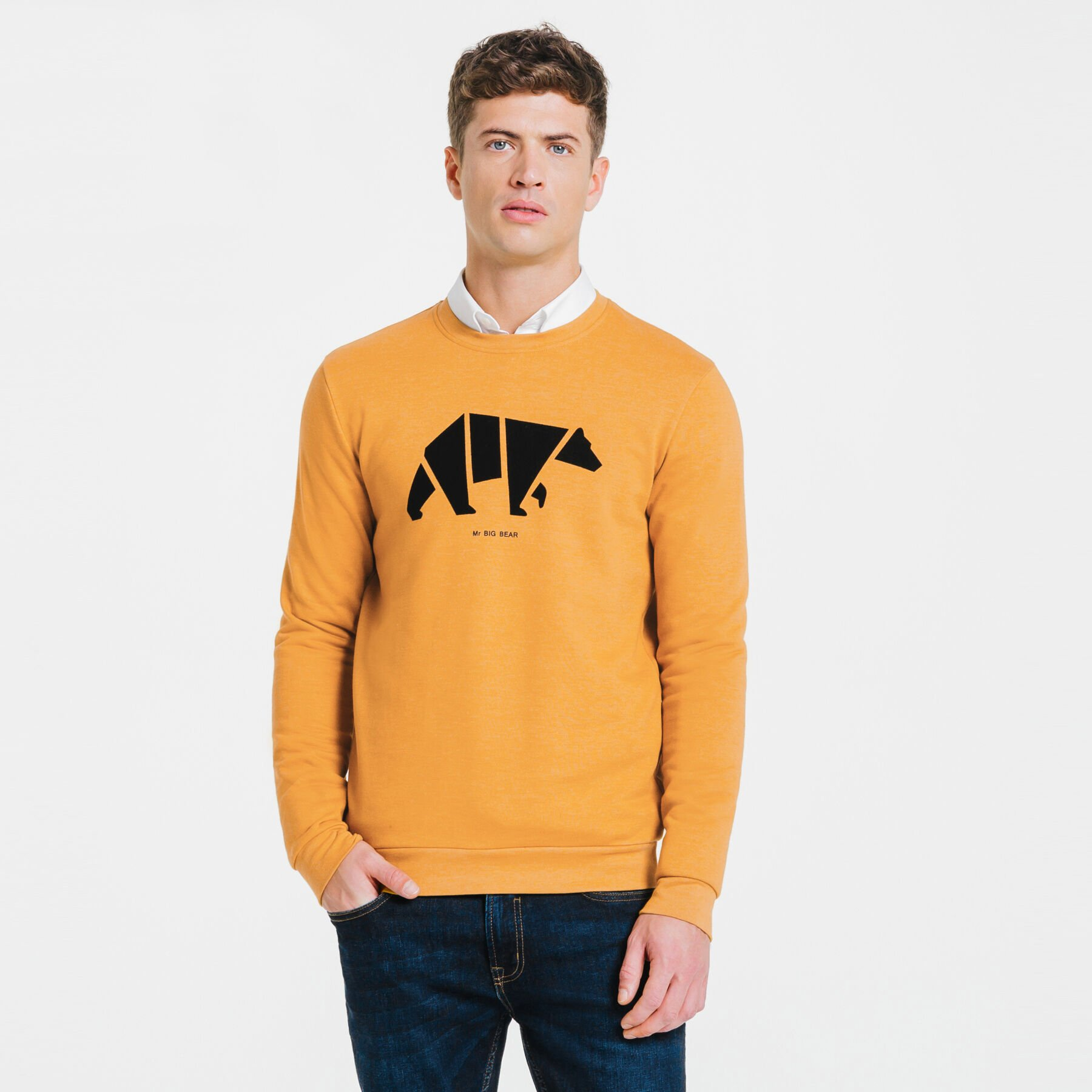 b81e273c03b4c Sweat origami ours Mr BIG BEAR Jaune Homme - Jules