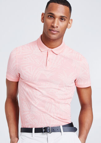 Polo met all-over bladprint
