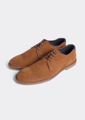 Chaussure derby suédé à semelle contrastée