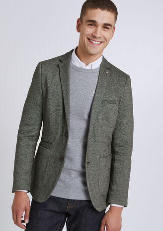Veste blazer maille coudières contrastées