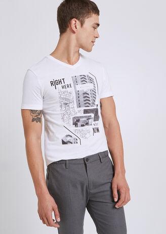 T-shirt met V-hals, opdruk fotoprint street