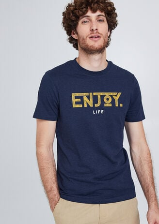 "Tee shirt col rond message ""Enjoy Life"""
