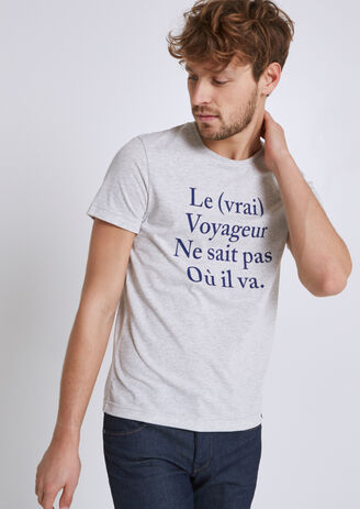 Tee shirt stampato ¿le voyageur¿ 100% made in