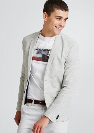 Veste blazer maille piquée gris clair