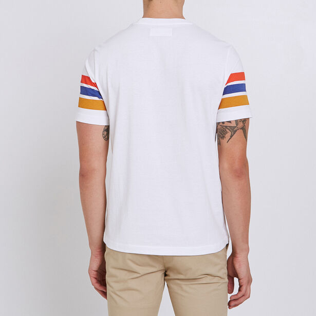 "Tee shirt colorblock rainbow imprimé poitrine ""neu"