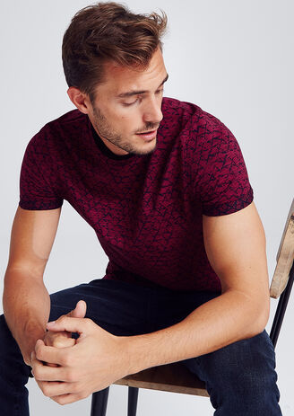 T-shirt met all-over print op fantasiestof