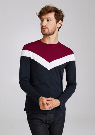 Tee shirt col rond colorblock