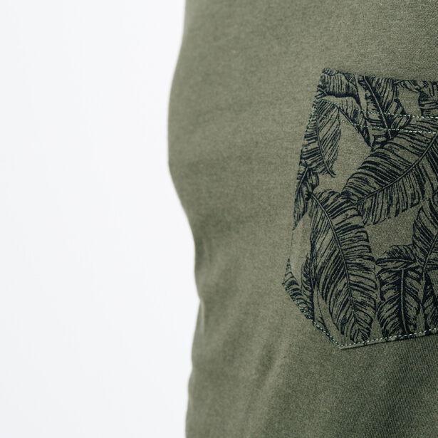 T-shirt col rond poche imprimée feuille