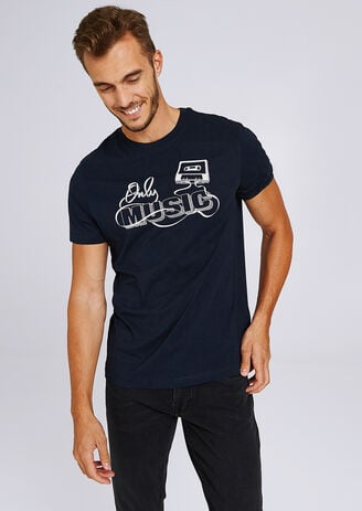 "Tee shirt cold rond print casette "" Only Music"""